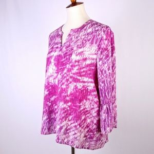 Kim Rogers Pink Watercolor Print Top Size Med